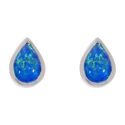 Sterling Silver Blue Opal Earrings Pearshape Rubover Created Opal Earrings