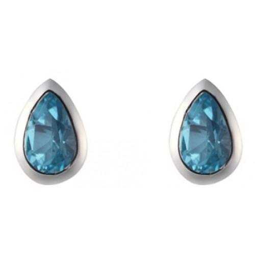 Blue Topaz Earrings Sterling Silver Stud Earrings 6x4mm Pearshape Rubover