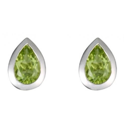 Peridot Sterling Silver Earrings Green Rubover High Polished Earrings 6x4mm