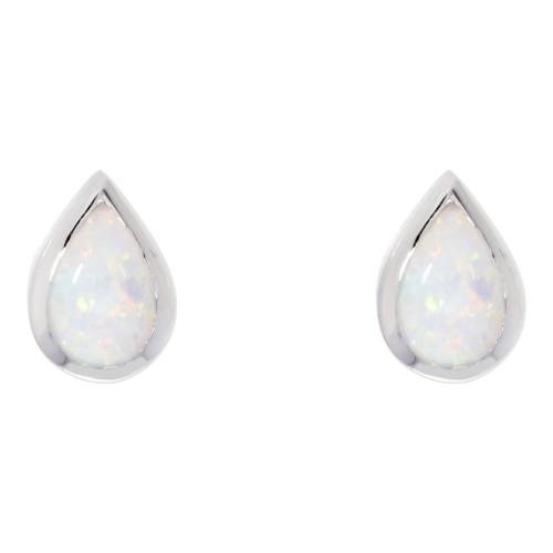 White Opal Earrings Sterling Silver 925 Created Opal 6x4mm Stud Earrings