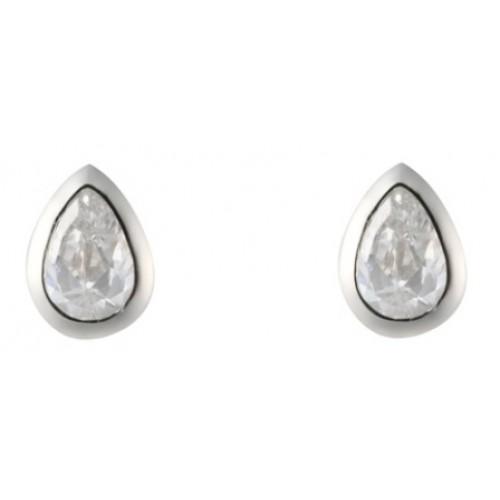 Sterling Silver Pearshape Earrings Clear White CZ Rubover Earrings 6x4mm