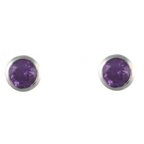 Silver Amethyst Earrings Round Rubover Sterling Silver 925 3mm Earrings