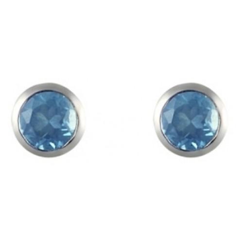 Blue Topaz Stud Earrings 925 Sterling Silver Rubover 3mm Earrings