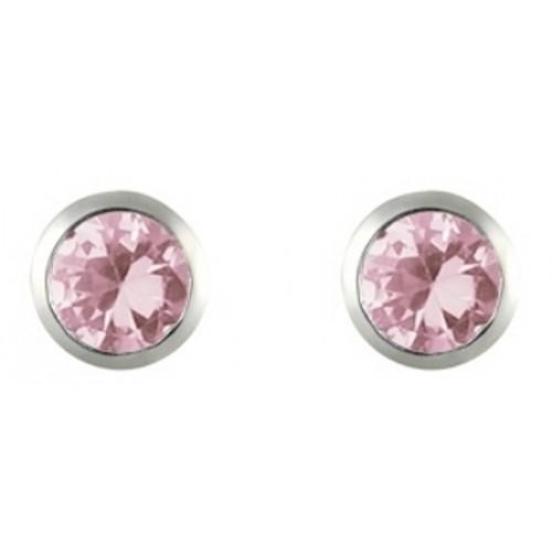 Pink Stud Earrings Silver Stud Earrings Pink CZ 3mm Earrings Rubover Set