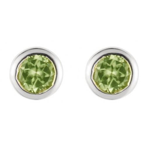 Silver Peridot 3mm Earrings Green Stone Stud Earrings 925 Sterling Silver