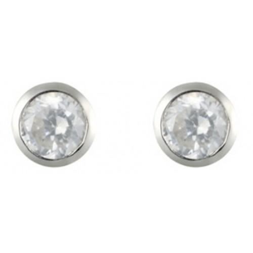 3mm Silver Stud Earrings White Clear CZ Rubover Set Earrings