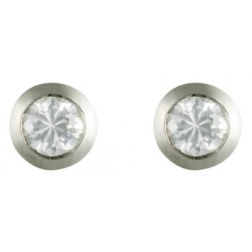 925 Sterling Silver Stud Earrings Rubover Set CZ Round Earrings 4mm