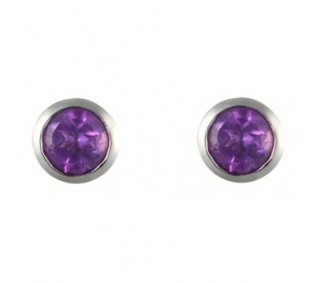 Sterling Silver 5mm Round Amethyst Post Earrings