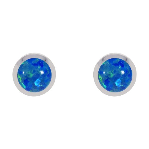 Silver Blue Created Opal Earrings 5mm Round Rubover Set Stud Earrings
