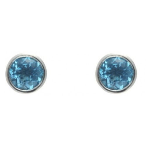 Silver Blue Topaz Earrings 5mm Round Rubover Set Stud Earrings