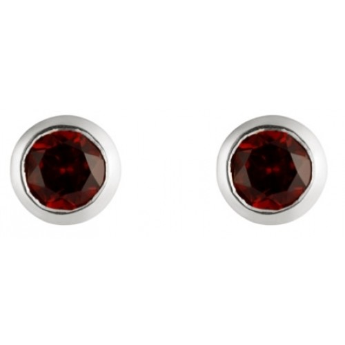 Silver Garnet Earrings 5mm Round Rubover Set Stud Earrings