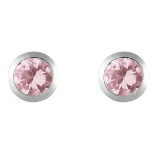 Silver Pink CZ Earrings 5mm Round Rubover Set Stud Earrings