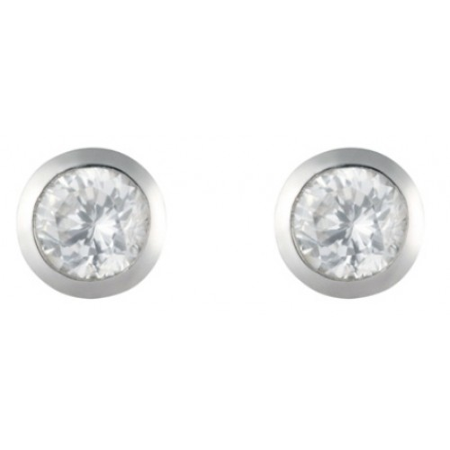 Silver CZ Earrings 5mm Round Rubover Set Stud Earrings