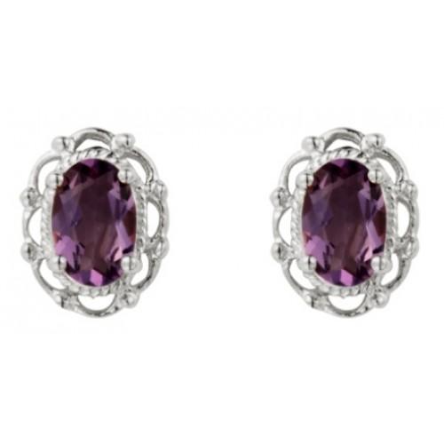 Filigree Amethyst Earrings Sterling Silver 925 Stud Earrings