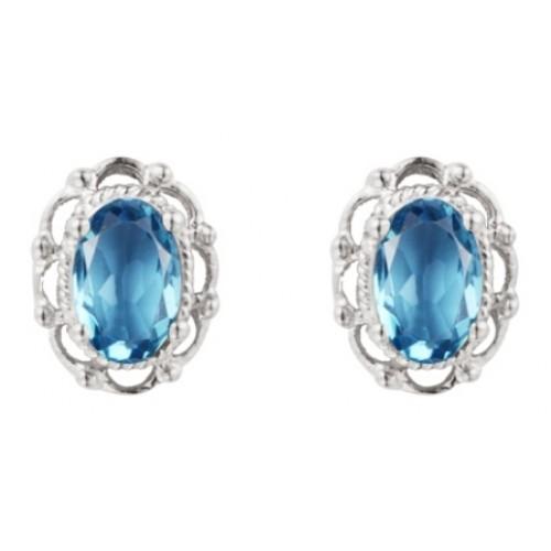Blue Topaz Filigree Silver Earrings 925 Sterling Silver Earrings