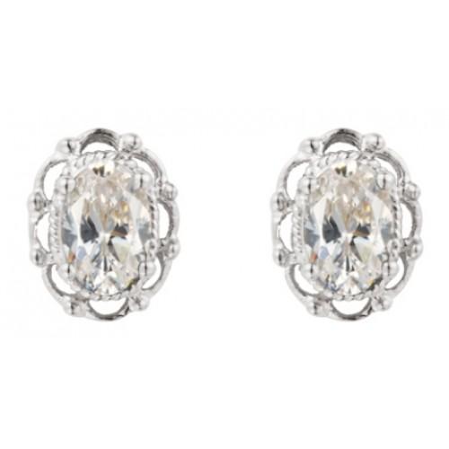 Sterling Silver 925 Filigree Stud Earrings White Clear CZ Set Earrings