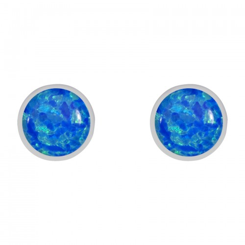 Sterling Silver Blue Created Opal 8mm Round Rubset Stud Earrings