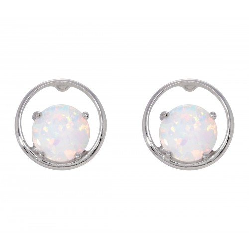 Circle Opal Stud Earrings White Created Opal 925 Sterling Silver 11mm