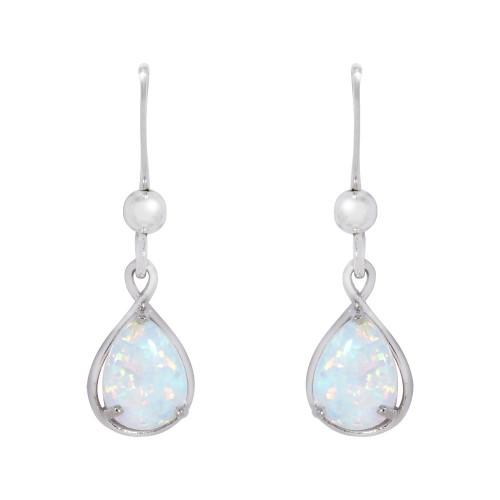 Silver Opal Drop Earrings White Created Opal Pearshape 925 Sterling Silver