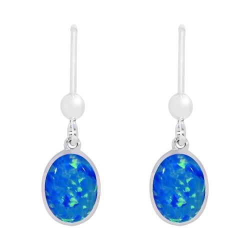Blue Drop Earrings Sterling Silver 925 Blue Created Opal Earrings 8x6mm