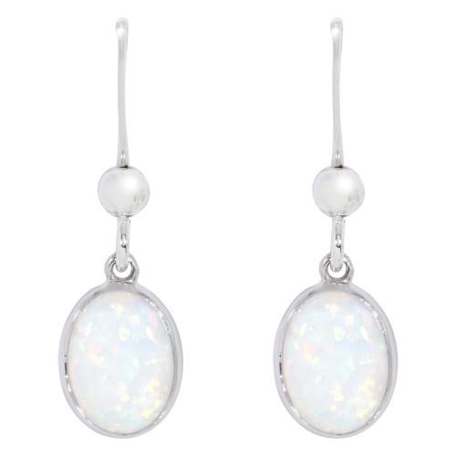 Silver Opal Drop Earrings White Created Opal Hanging Drop Earrings 8x6mm