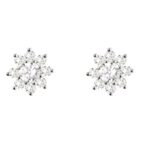 Sterling Silver Cluster Stud Flower Earrings 4mm