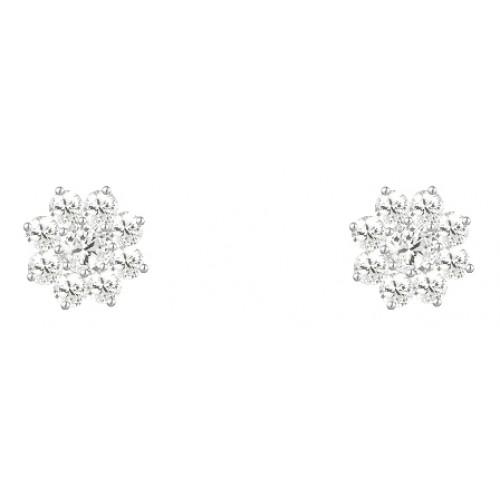 Cluster Stud Earrings 925 Sterling Silver Clear CZ 3mm Earrings