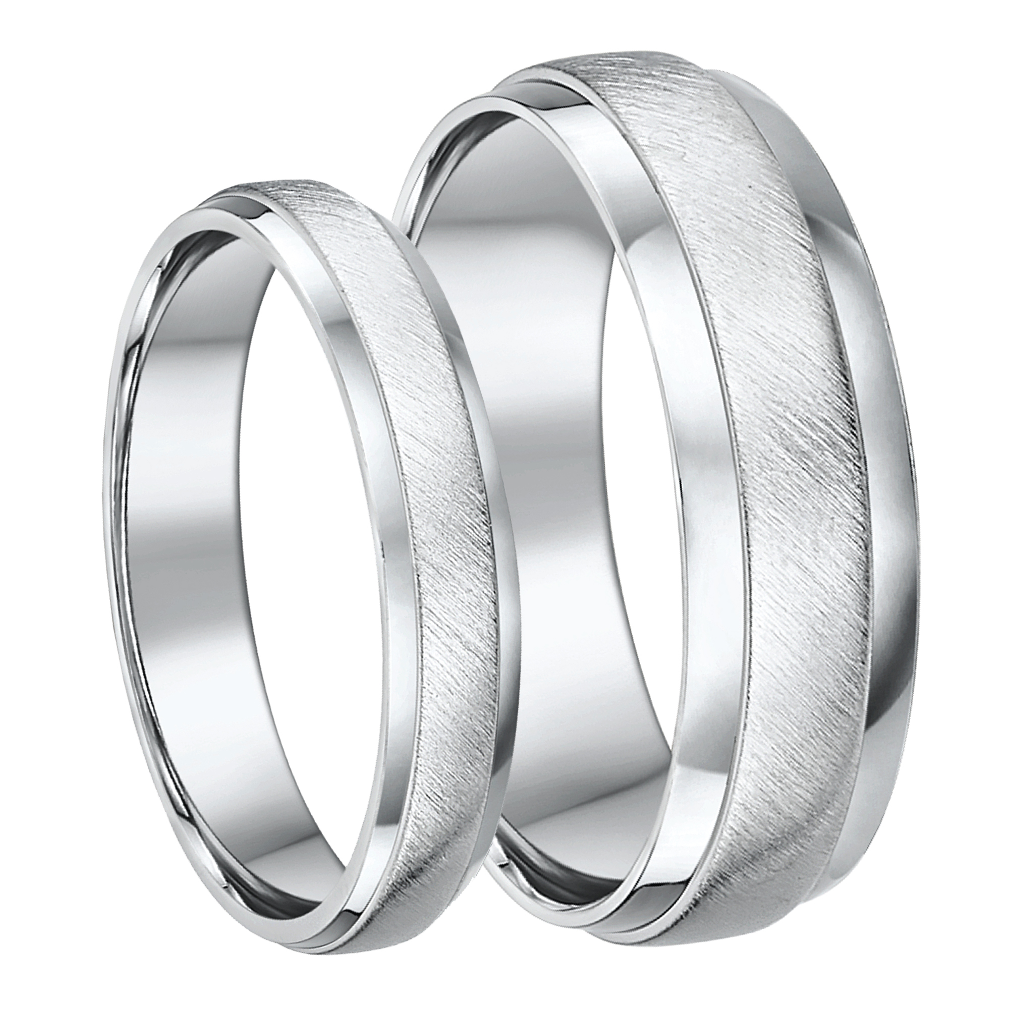 Palladium His & Hers 4&6 Matt and Polished D shaped Wedding Ring
