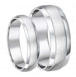 Palladium His & Hers 5&7 Matt and Polished D shaped Wedding Ring