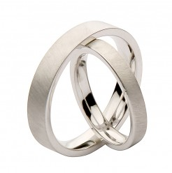 His & Hers 3&5mm Brushed Matt Flat Court Silver Wedding Rings