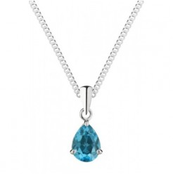 "Silver Blue Topaz Necklace 8x6mm Pearshape Claw Set Pendant 18"" Chain"