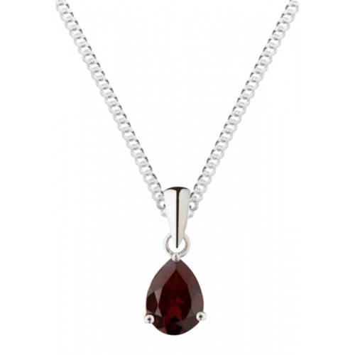 "Silver Garnet Necklace 8x6mm Pearshape Claw Set Pendant 18"" Chain"