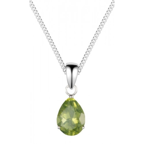 "Silver Peridot Necklace 8x6mm Pearshape Claw Set Pendant 18"" Chain"