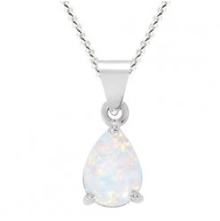"Silver White Created Opal Necklace 8x6mm Pearshape Claw Set Pendant 18"" Cha"