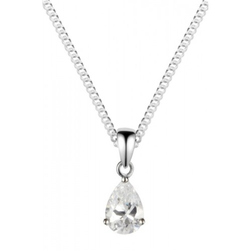 "Silver White CZ Necklace 8x6mm Pearshape Claw Set Pendant 18"" Chain"