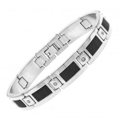 Stainless Steel & Cubic Zirconia Black Center Bracelet