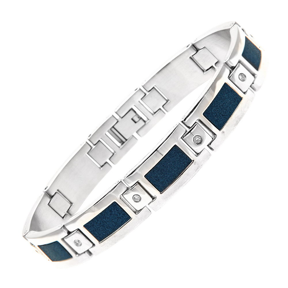Mens Stainless Steel Blue Accent Cz Dog Tag & Bracelet Set
