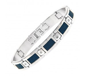 Stainless Steel & Cubic Zirconia Blue Center Bracelet