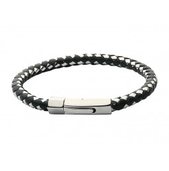 Stainless Steel & Plaited Black & Silver Rubber Bracelet