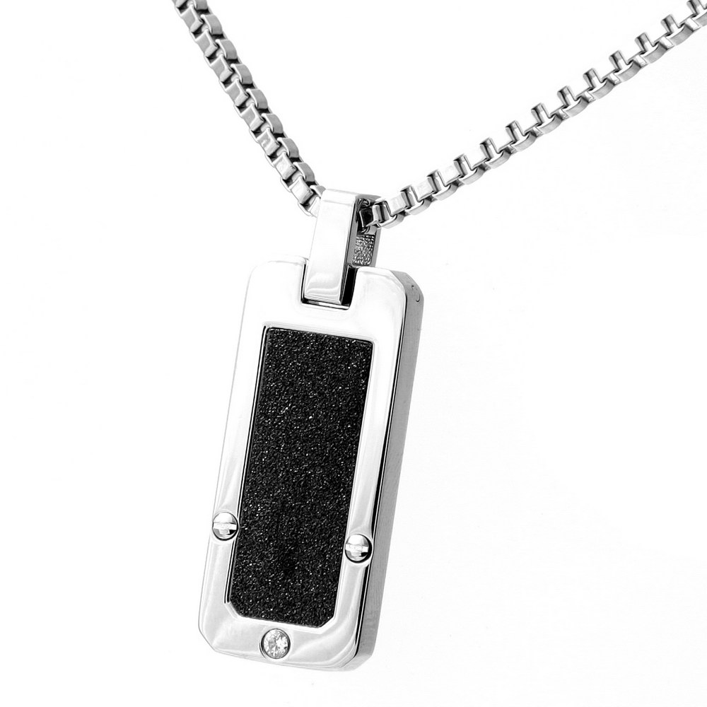 Stainless Steel Black Accent CZ Stone Dog Tag Necklace