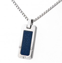Stainless Steel Blue Accent CZ Stone Dog Tag Necklace