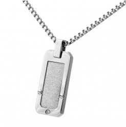 Stainless Steel White Accent CZ Stone Dog Tag Necklace