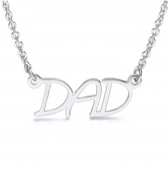 Stainless Steel Highly Polished White Gold Colour Dad Pendant