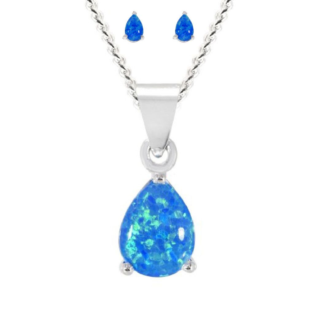 Blue Opal Pendant Earring Set 925 Sterling Silver Set