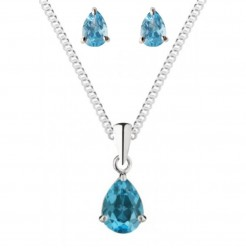 Blue Topaz Gift Set Pendant and Stud Earrings 925 Sterling Silver Set