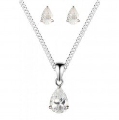 925 Sterling Silver Clear White CZ Pearshape Pendant Earring Set