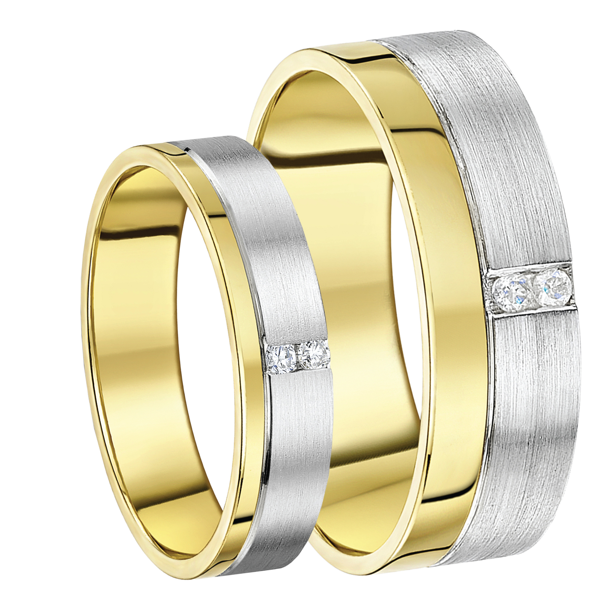 His&Her 5&7mm 9ct Gold Two Colour Diamond Wedding Rings
