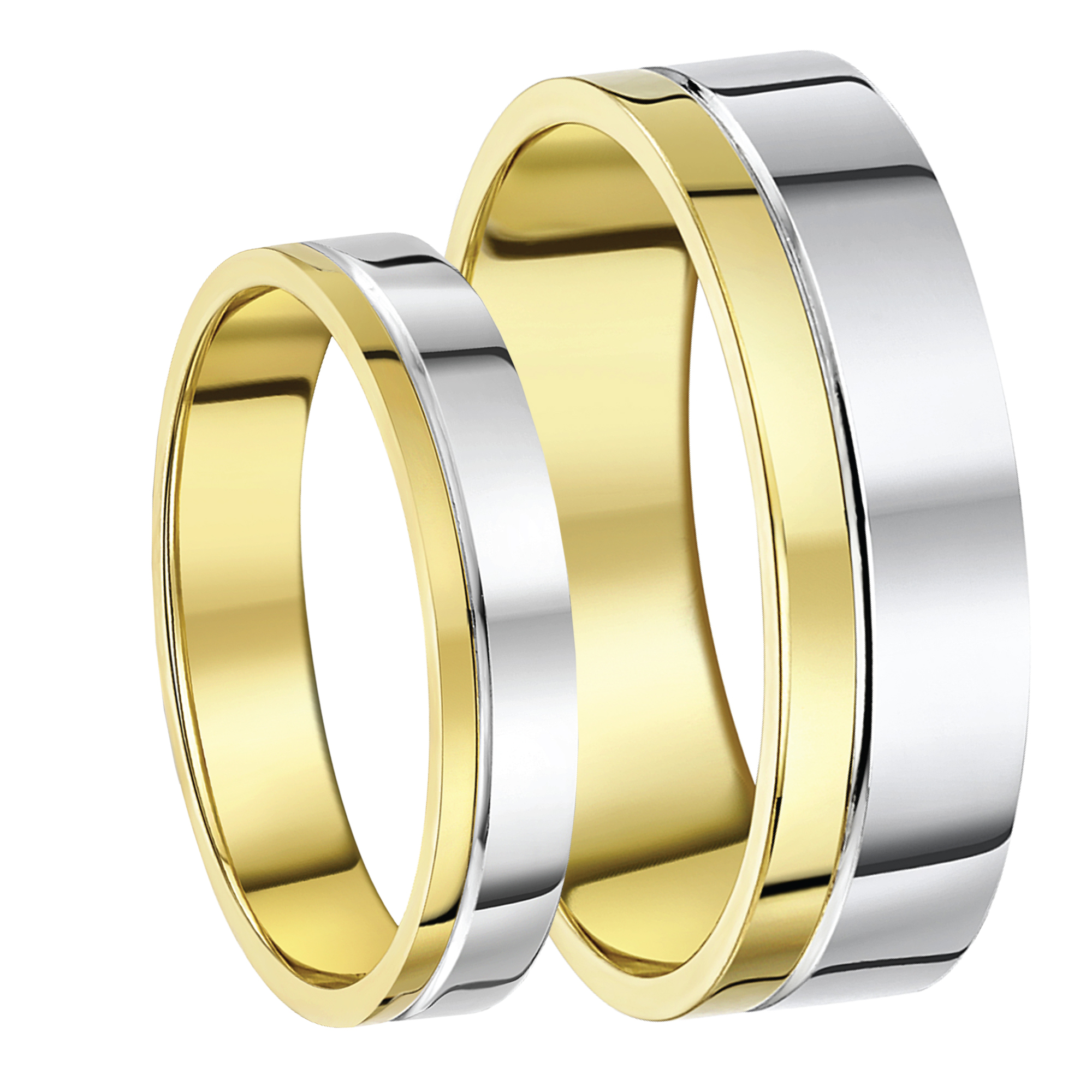 His & Hers 4&6mm 9ct Two-Colour Wedding Ring Bands