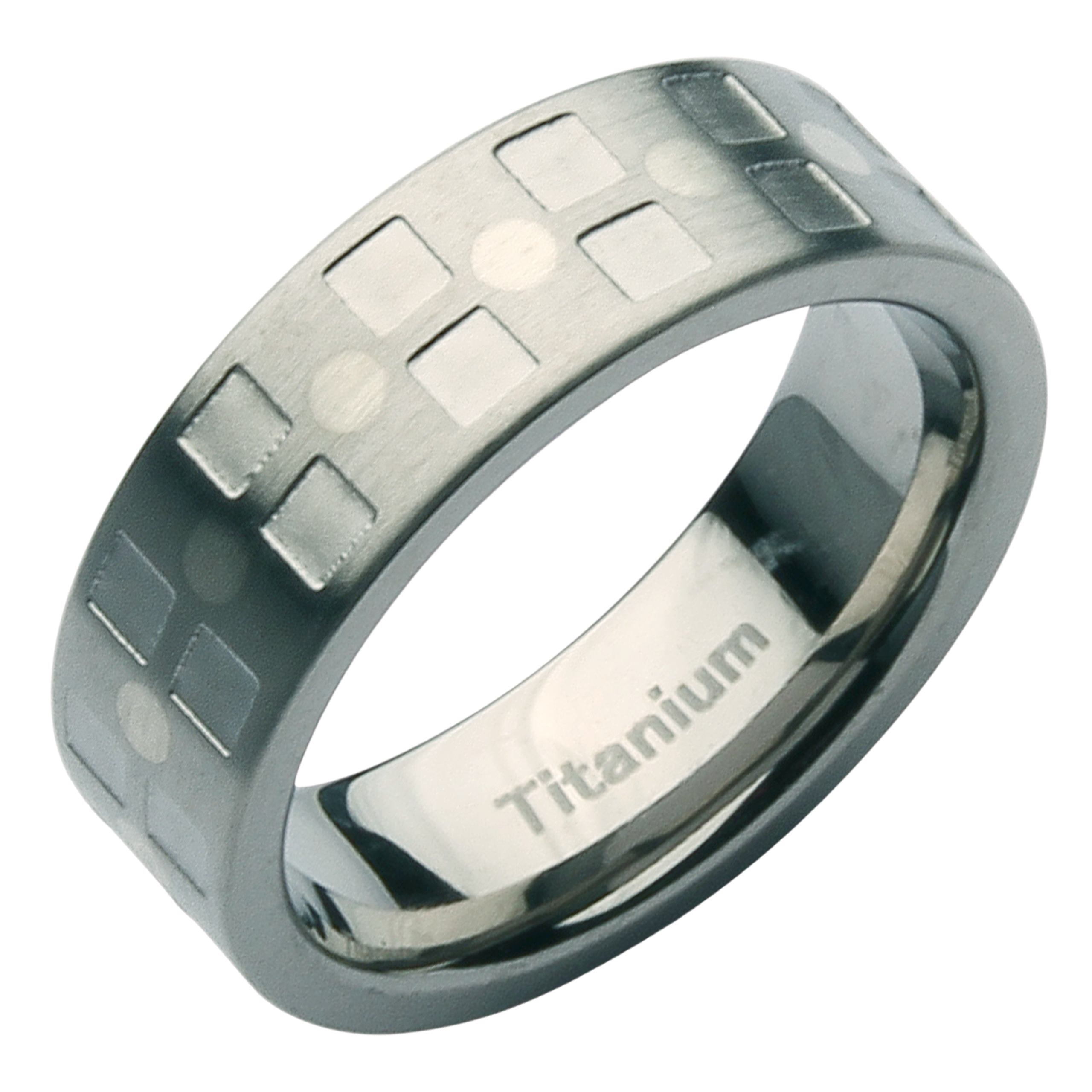 7mm Titanium Designed Patterned Wedding Ring Band
