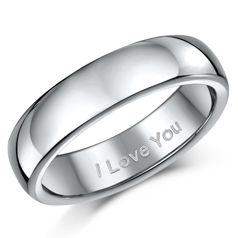 "5mm Titanium Court Shaped Ring Engraved ""I Love You''"